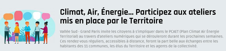 Climat, Air, Énergie… Participez aux ateliers mis en place par le Territoire