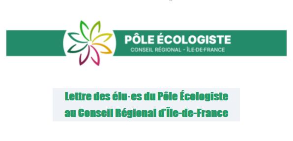 Lettre des élu·es du Pôle Écologiste au Conseil Régional d'Île-de-France